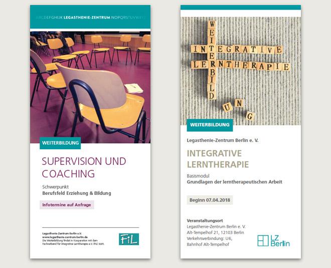 Flyer Wickelfalzung für die Weiterbildungen Supervision und Integrative Lerntherapie