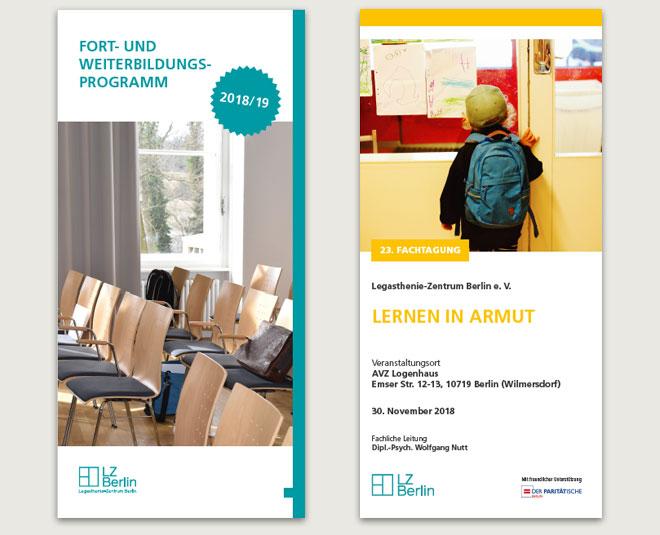 """Fort- und Weiterbildungsprogramm 2018/19, 40 Seiten und Flyer zur Fachtagung """"Lernen in Armut"""", DIN lang, Wickelfalzung"""