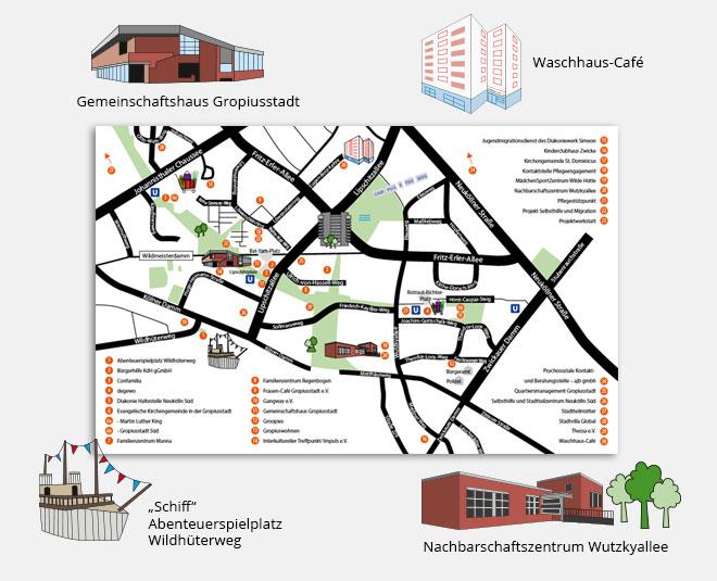 Übersichtskarte aller nwg-Einrichtungen innerhalb der Gropiusstadt